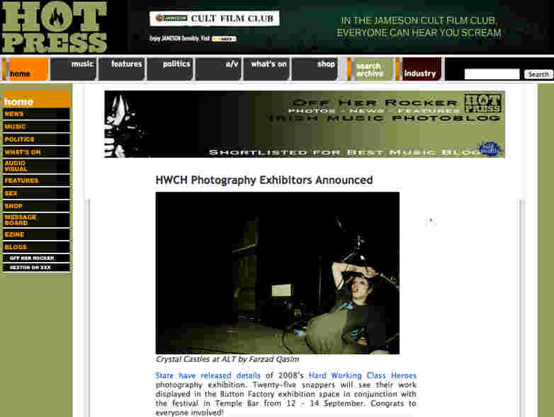 Hotpress.com blog feature